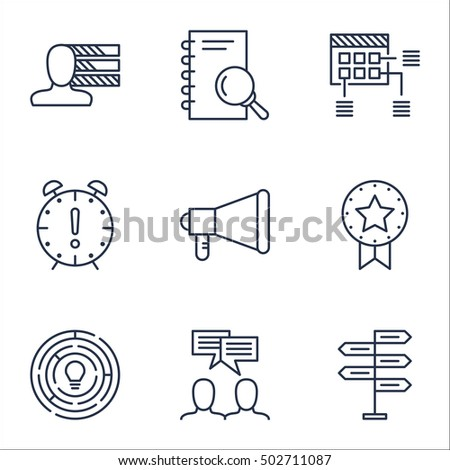 Set Of Project Management Icons On Analysis, Innovation And Time Management Topics. Editable Vector Illustration. Includes Project, Time And Announcement Vector Icons.