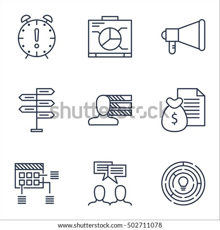 Set Of Project Management Icons On Announcement, Board And Report Topics. Editable Vector Illustration. Includes Advertising, Chart And Decision Vector Icons.