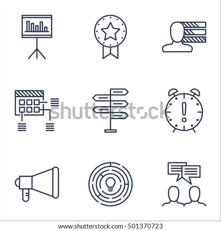 Set Of Project Management Icons On Announcement, Presentation And Personal Skills Topics. Editable Vector Illustration. Includes Deadline, Date And Win Vector Icons.