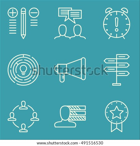 Set Of Project Management Icons On Best Solution, Decision Making, Promotion And More. Premium Quality EPS10 Vector Illustration For Mobile, App, UI Design.