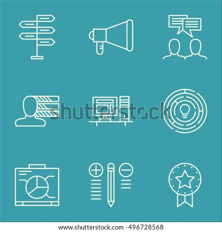 Set Of Project Management Icons On Board, Computer, Personal Skills And More. Includes Announcement, Opportunity, Innovation And Other Vector Icons.