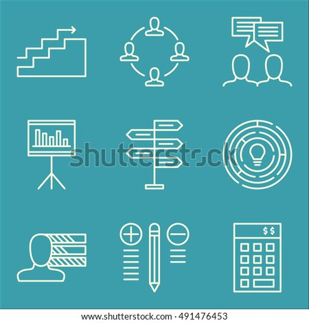 Set Of Project Management Icons On Charts, Best Solution, Teamwork And More. Premium Quality EPS10 Vector Illustration For Mobile, App, UI Design.