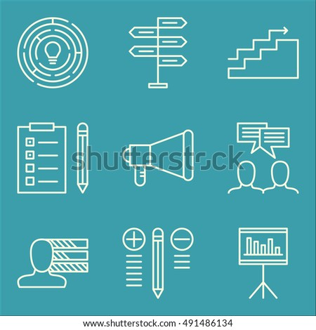 Set Of Project Management Icons On Charts, Creativity, Best Solution And More. Premium Quality EPS10 Vector Illustration For Mobile, App, UI Design.