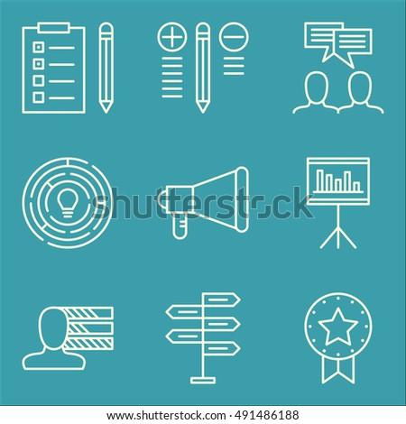 Set Of Project Management Icons On Decision Making, Award, Team Meeting And More. Premium Quality EPS10 Vector Illustration For Mobile, App, UI Design.