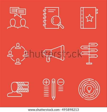 Set Of Project Management Icons On Decision Making, Innovation, Collaboration And More. Includes Announcement, Collaboration, Opportunity And Other Vector Icons.