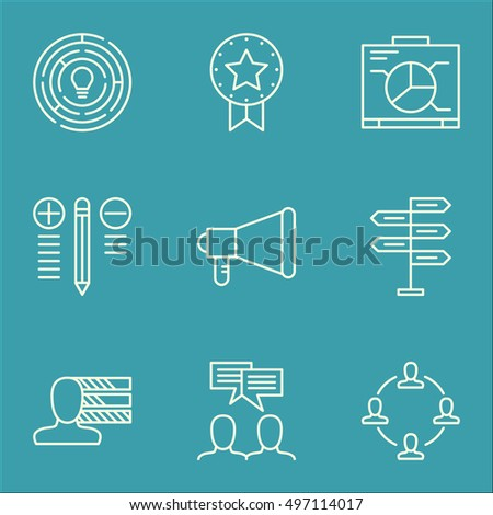 Set Of Project Management Icons On Decision Making, Innovation, Collaboration And More. Includes Decision Making, Opportunity, Discussion And Other Vector Icons.