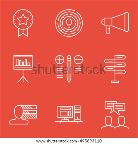 Set Of Project Management Icons On Decision Making, Personal Skills, Computer And More. Includes Presentation, Computer, Present Badge And Other Vector Icons.