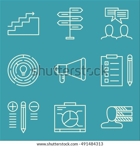 Set Of Project Management Icons On Decision Making, Personality, Charts And More. Premium Quality EPS10 Vector Illustration For Mobile, App, UI Design.