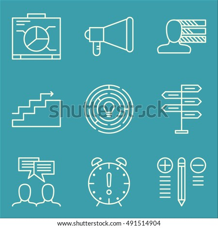 Set Of Project Management Icons On Decision Making, Promotion, Creativity And More. Premium Quality EPS10 Vector Illustration For Mobile, App, UI Design.