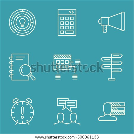 Set Of Project Management Icons On Discussion, Analysis And Personal Skills Topics. Editable Vector Illustration. Includes Idea, Announcement And Fork Vector Icons.