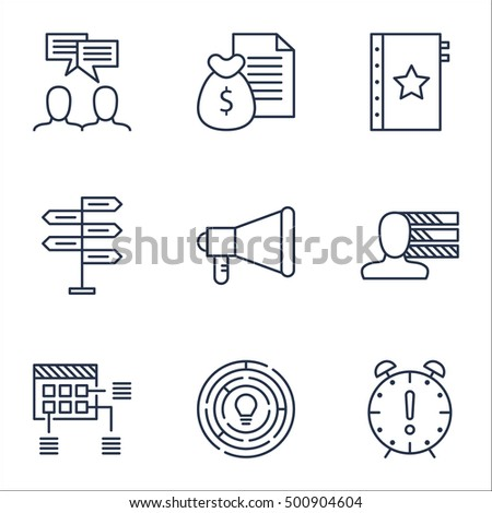 Set Of Project Management Icons On Discussion, Personal Skills And Report Topics. Editable Vector Illustration. Includes Time, Fork And Quality Vector Icons.