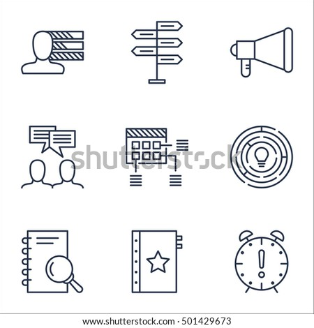 Set Of Project Management Icons On Discussion, Schedule And Personal Skills Topics. Editable Vector Illustration. Includes Team, Time And Project Vector Icons.