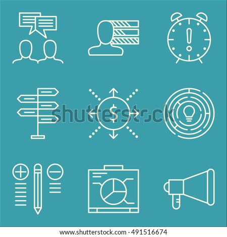 Set Of Project Management Icons On Graph, Team Meeting, Cash Flow And More. Premium Quality EPS10 Vector Illustration For Mobile, App, UI Design.