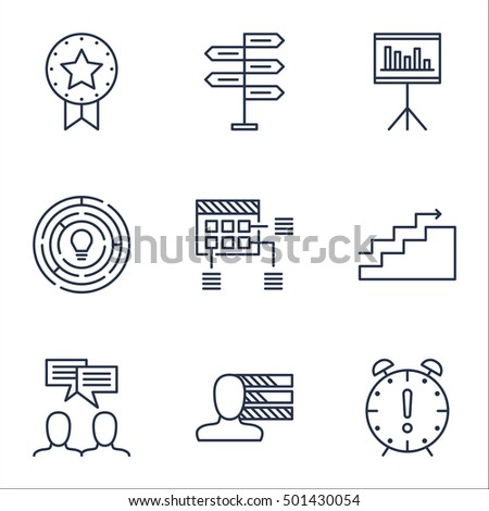 Set Of Project Management Icons On Innovation, Growth And Time Management Topics. Editable Vector Illustration. Includes Project, Time And Date Vector Icons.