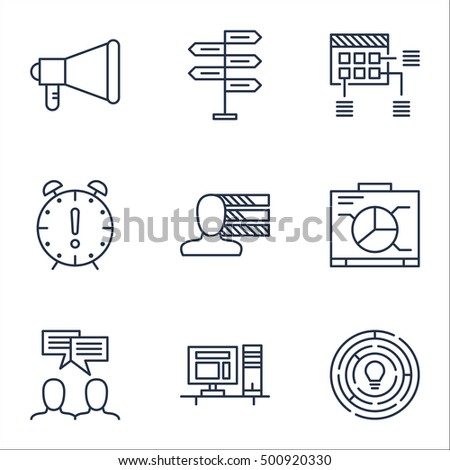 Set Of Project Management Icons On Innovation, Opportunity And Board Topics. Editable Vector Illustration. Includes Meeting, Brainstorming And Date Vector Icons.