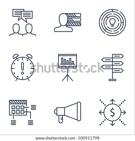 Set Of Project Management Icons On Innovation, Presentation And Personal Skills Topics. Editable Vector Illustration. Includes Time, Decision And Deadline Vector Icons.