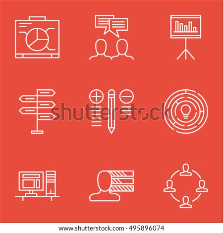 Set Of Project Management Icons On Innovation, Presentation, Personal Skills And More. Includes Decision Making, Computer, Innovation And Other Vector Icons.