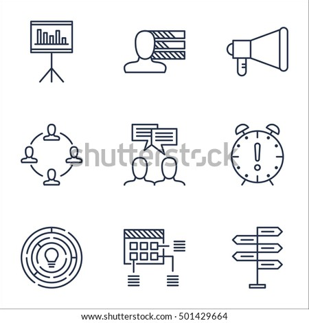 Set Of Project Management Icons On Innovation, Schedule And Announcement Topics. Editable Vector Illustration. Includes Statistics, Announcement And Making Vector Icons.