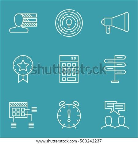 Set Of Project Management Icons On Investment, Announcement And Innovation Topics. Editable Vector Illustration. Includes Budget, Finance And Making Vector Icons.