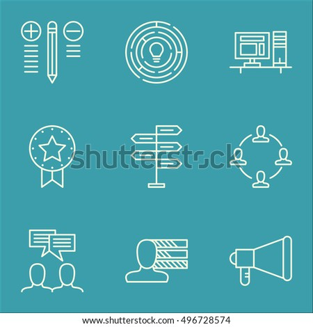 Set Of Project Management Icons On Opportunity, Announcement, Computer And More. Includes Computer, Discussion, Present Badge And Other Vector Icons.