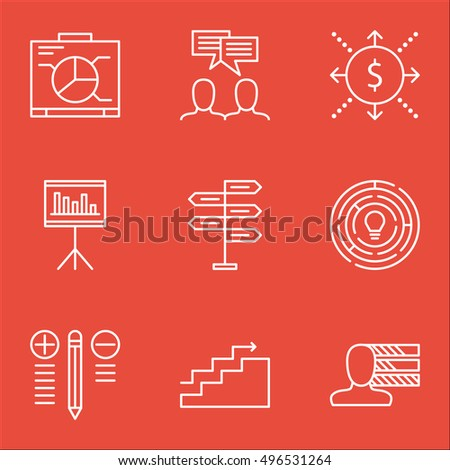 Set Of Project Management Icons On Opportunity, Money, Innovation And More. Includes Personal Skills, Decision Making, Board And Other Vector Icons.