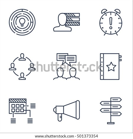 Set Of Project Management Icons On Personal Skills, Opportunity And Schedule Topics. Editable Vector Illustration. Includes Announcement, Quality And Making Vector Icons.
