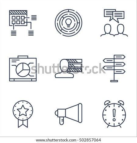 Set Of Project Management Icons On Present Badge, Time Management And Innovation Topics. Editable Vector Illustration. Includes Brainstorm, Time And Team Vector Icons.