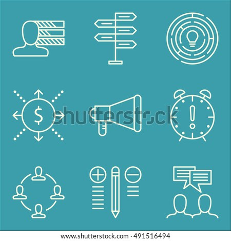 Set Of Project Management Icons On Promotion, Creativity, Decision Making And More. Premium Quality EPS10 Vector Illustration For Mobile, App, UI Design.