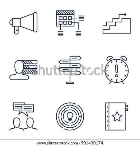 Set Of Project Management Icons On Time Management, Innovation And Opportunity Topics. Editable Vector Illustration. Includes Meeting, Growth And Personal Vector Icons.