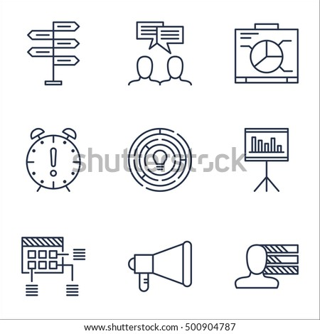 Set Of Project Management Icons On Time Management, Opportunity And Innovation Topics. Editable Vector Illustration. Includes Meeting, Advertising And Presentation Vector Icons.