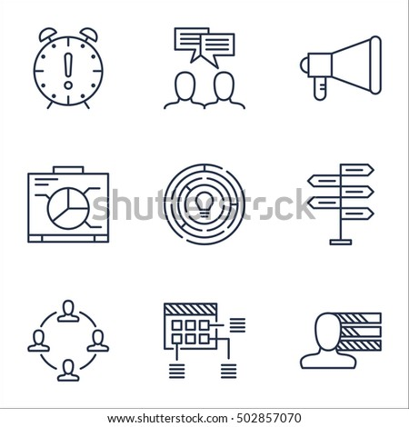 Set Of Project Management Icons On Time Management, Personal Skills And Announcement Topics. Editable Vector Illustration. Includes Discussion, Promotion And Dashboard Vector Icons.