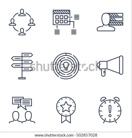 Set Of Project Management Icons On Time Management, Schedule And Announcement Topics. Editable Vector Illustration. Includes Plan, Personality And Fork Vector Icons.