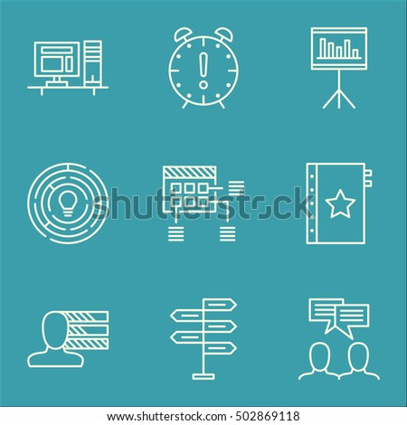 Set Of Project Management Icons On Warranty, Time Management And Opportunity Topics. Editable Vector Illustration. Includes Team, Time And Skills Vector Icons.