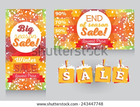 set of promo cards and tags for season winter sale, vector illustration - stock vector