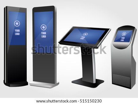 Set promotional interactive information kiosk advertising for Stand alone outdoor privacy screen