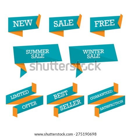 Set of Promotional Ribbons - stock vector