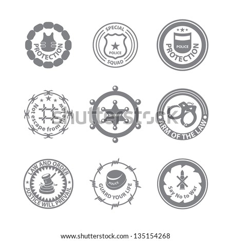 Set of protection badges and labels - stock vector