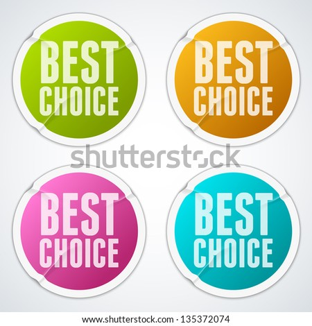 """Set of puckered stickers """"Best choice"""" - eps10 - stock vector"""