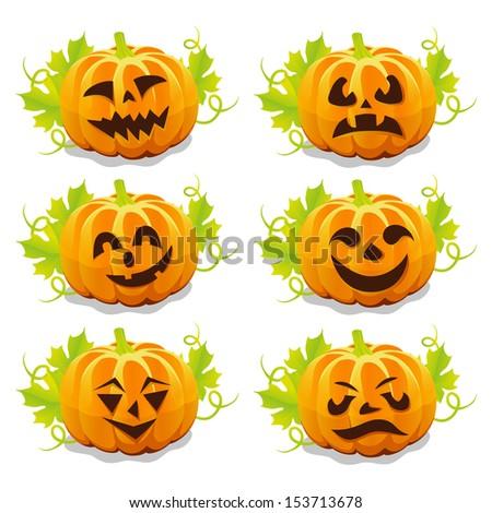 set of pumpkins for Halloween  vector - stock vector