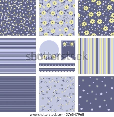 set of purple and yellow floral backgrounds and labels for design
