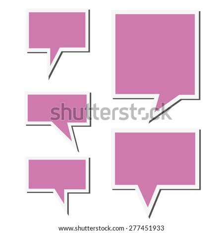 Set of purple speech sticker bubbles. Isolated on white background.