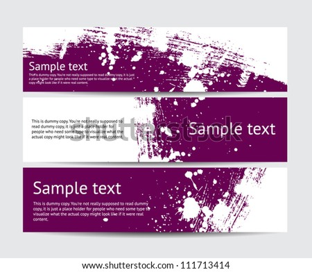 Set of purple vector brush stroke hand painted banners with paint splatters