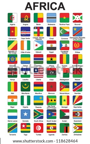 set of push buttons with African countries flags vector illustration - stock vector