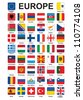 set of push buttons with flags of Europe vector illustration - stock photo