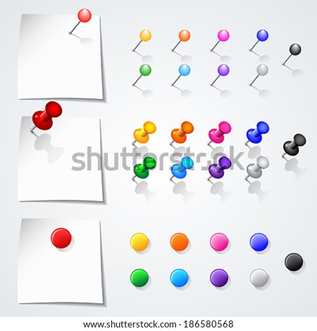 Set of push pins in different colors. Isolated on white background.   Vector illustration.  - stock vector
