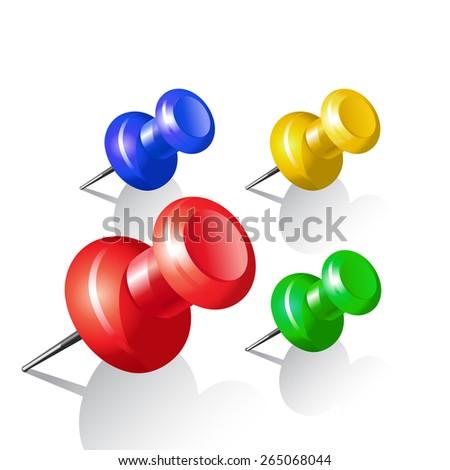 Set of push pins. Thumbtack - stock vector