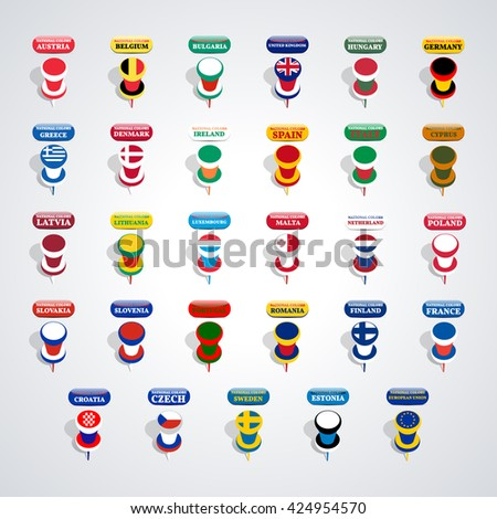 Set of pushpin in the national colors of countries members of the European Union, vector illustration. - stock vector