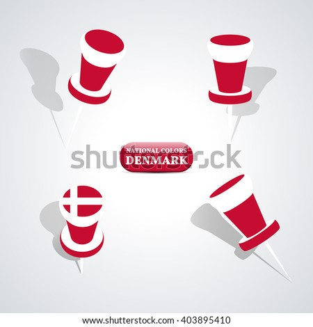 Set of pushpin in the national colors of Denmark, vector illustration. - stock vector
