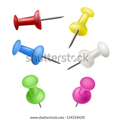 set of pushpins - stock vector