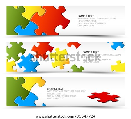 Set of puzzle horizontal banners - jigsaw or solution - stock vector